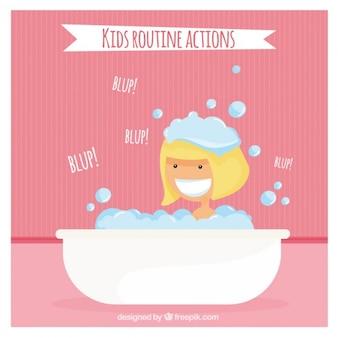 Fille ayant un bain