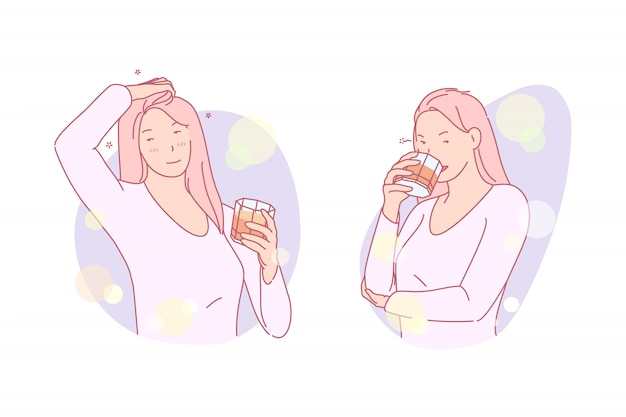 Fille ayant une boisson illustration