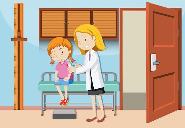 Une fille ayant un vaccin à l'hôpital