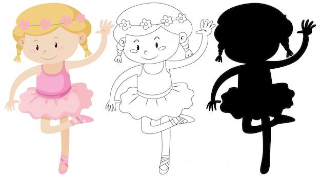 Fille de ballet avec son contour et sa silhouette