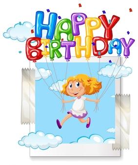 Fille avec ballon joyeux anniversaire sur photoframe