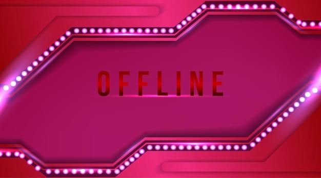 Fille, bannière hors ligne de couleur rose avec fond abstrait pour twitch