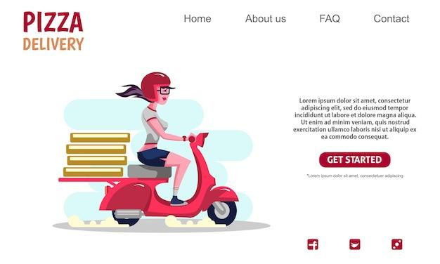 Fille de beauté équitation moto vintage scooter rouge transportant des boîtes à pizza, service de livraison.