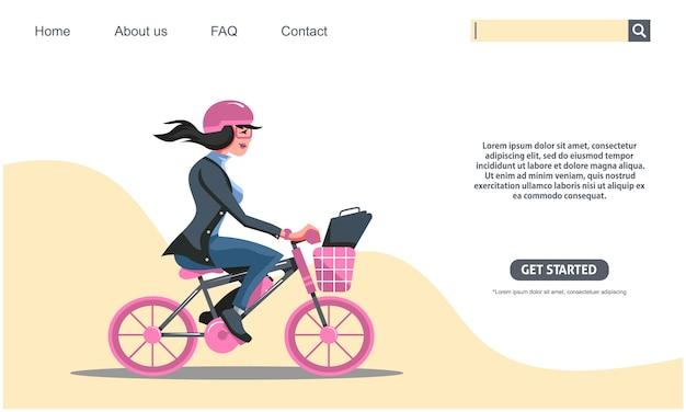 Fille de beauté à vélo rose, vélo homme d'affaires au concept de travail. .