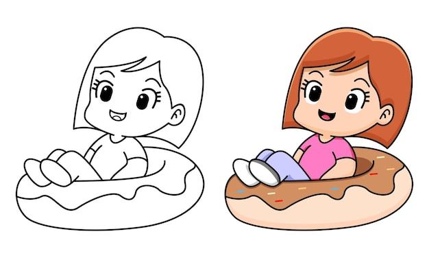 Fille avec beignet coloriage pour les enfants