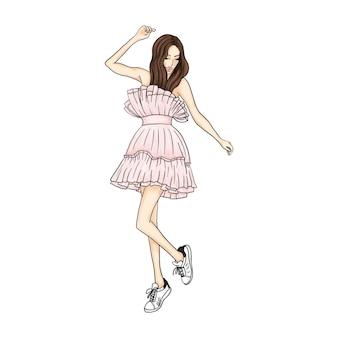Fille en belle robe rose