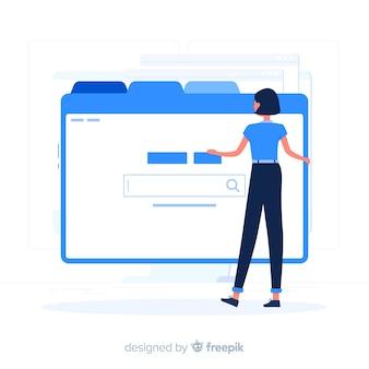 Fille bleue surfer sur le style plat internet