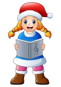 Fille blonde chantant des chants de noël