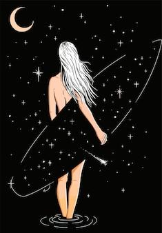 Fille blonde avec une planche de surf sur le fond du ciel étoilé de la nuit