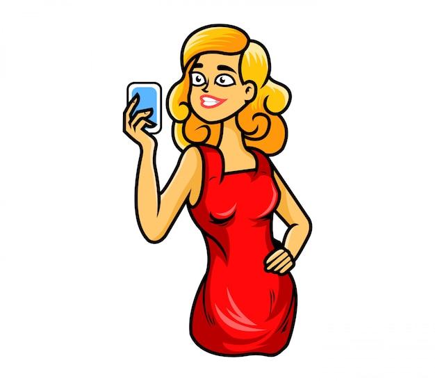 Fille blonde prendre selfie