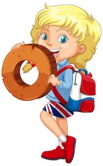 Fille blonde tenant le numéro de maths zéro