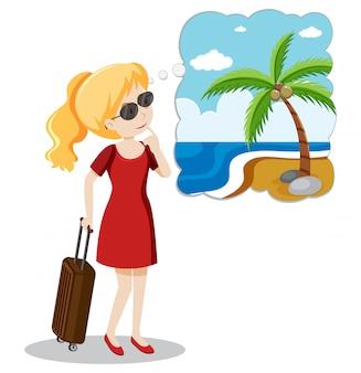 Une fille blonde va vacances d'été