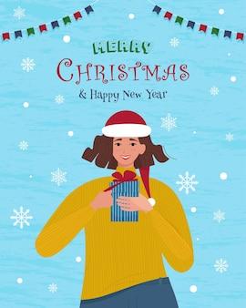Fille en bonnet de noel avec boîte-cadeau joyeux noël et bonne année cartoon vector illustration