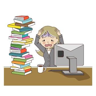 Fille de bureau se stresser