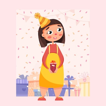 Fille avec des cadeaux