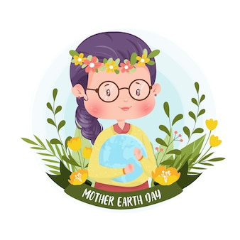 Fille de caractère botanique mother earth day concept illustration