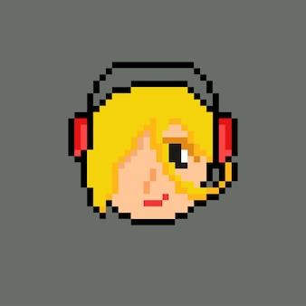 Fille casque avec style pixel art