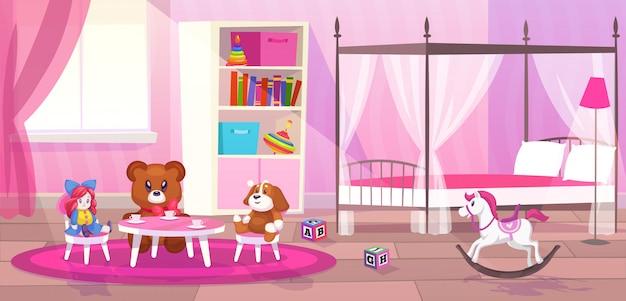 Fille de chambre à coucher. enfant chambre intérieur filles appartement jouets girly stockage décor meubles enfant salle de jeux plat dessin animé