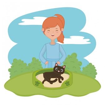 Fille avec chat de dessin animé