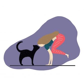 Fille et chat font des exercices