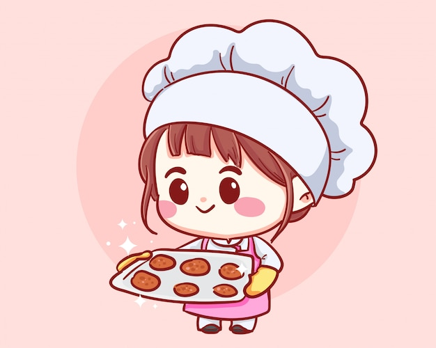 Fille de chef de boulangerie mignon tenant un plateau avec des biscuits frais. enfant en toque et uniforme. illustration de dessin animé de personnage de dessin animé.