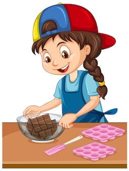Fille de chef avec équipement de cuisson sur la table