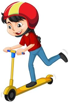 Fille en chemise rouge à cheval sur scooter sur blanc