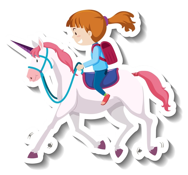 Une fille chevauchant un autocollant de dessin animé de licorne