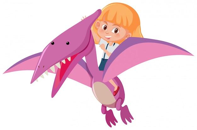 Une fille chevauchant un dinosaure