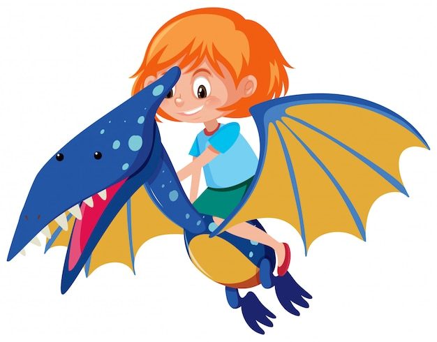 Une fille chevauchant pteranodon