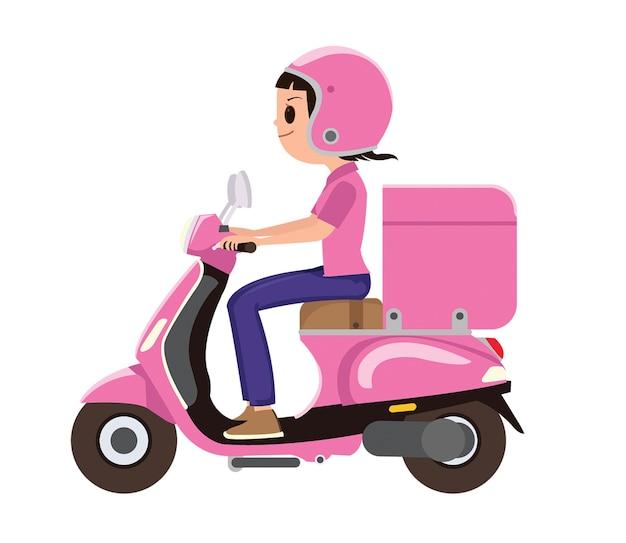Une fille chevauchant un scooter de livraison rose