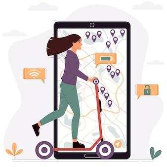 Fille chevauche un concept de service de location de scooter électrique illustration vectorielle