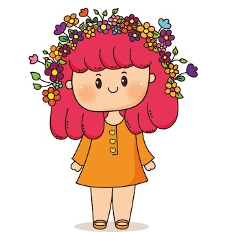 Fille chibi avec des fleurs