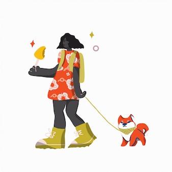 Fille et chien aiment marcher. illustration de dessin animé plat. concept extérieur d'été.