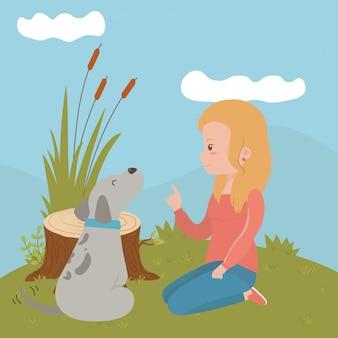 Fille avec chien de dessin animé