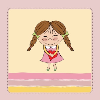 Fille avec coeur carte de saint valentin