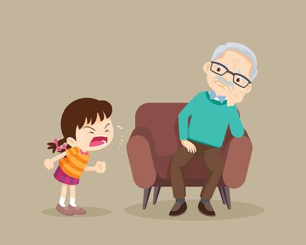 Une fille en colère gronde aux personnes âgées tristes.