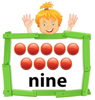 Fille comptant le nombre neuf