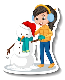 Fille construisant un autocollant de dessin animé de bonhomme de neige
