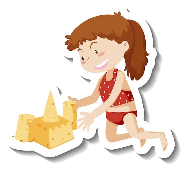 Une fille construisant un autocollant de personnage de dessin animé de château de sable