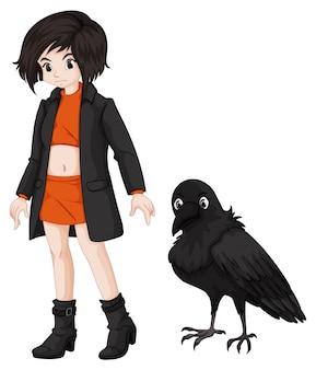 Fille et corbeau sur fond blanc