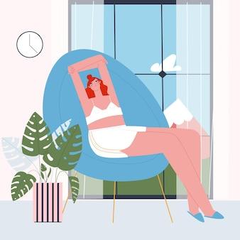 Une fille en costume fait maison se relaxant dans un fauteuil près d'une fenêtre donnant sur les montagnes vecteur plat