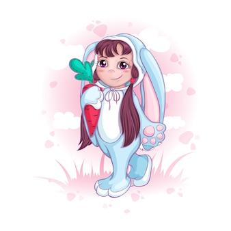 Une fille en costume de lapin. enfants en déguisements ou pyjamas.