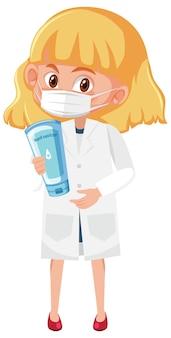 Fille en costume de médecin tenant des objets de bouteille de désinfectant pour les mains isolés sur fond blanc