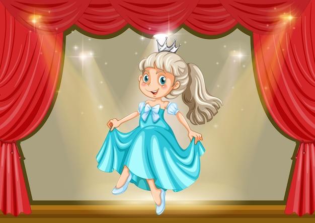 Fille en costume de princesse sur scène