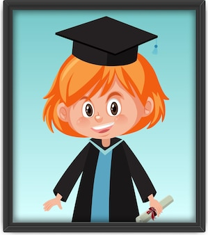 Une fille en costume de remise des diplômes dans un cadre photo