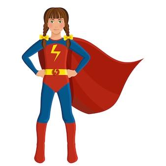 Fille en costume de super-héros