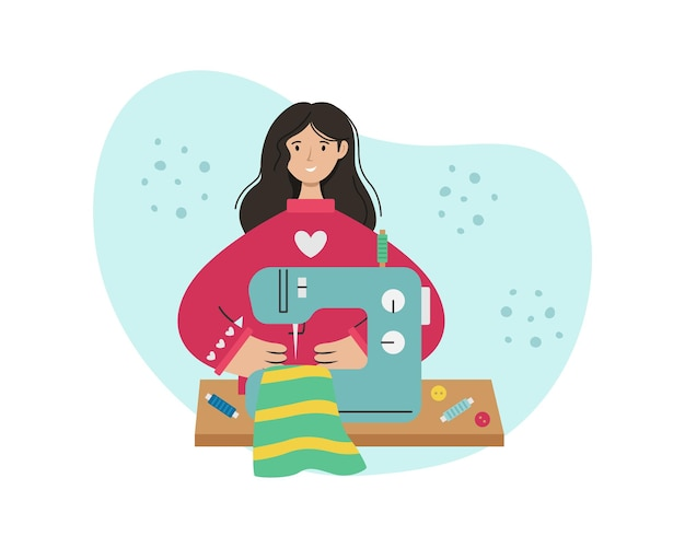 La fille coud sur une machine à coudre. métier créatif.