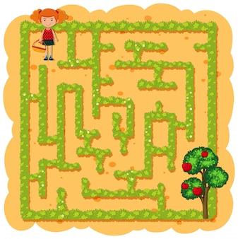 Une fille cueillant des fruits labyrinthe jeu