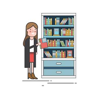 Fille cueillette d'un livre